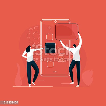 istock mobile application development Concept Illustration, designer and developer Using Big Screen With Site Building Tools. 1216959455