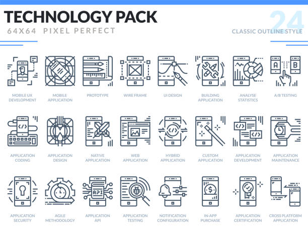 Mobile Application Development Icons Set. Technology outline icons pack. Pixel perfect thin line vector icons for web design and website application. vector art illustration