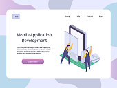 Mobile Application development. Isometric technology vector illustration