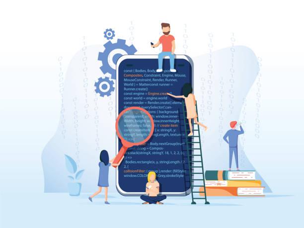 ilustraciones, imágenes clip art, dibujos animados e iconos de stock de proceso de desarrollo de aplicaciones móviles, software api prototipos y pruebas de fondo, equipo experimentado - training