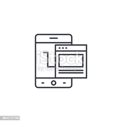 Mobile application line icon, vector illustration. Mobile application linear concept sign.