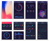 Mobile application UI and Smartphone UX vector templates with charts and diagrams