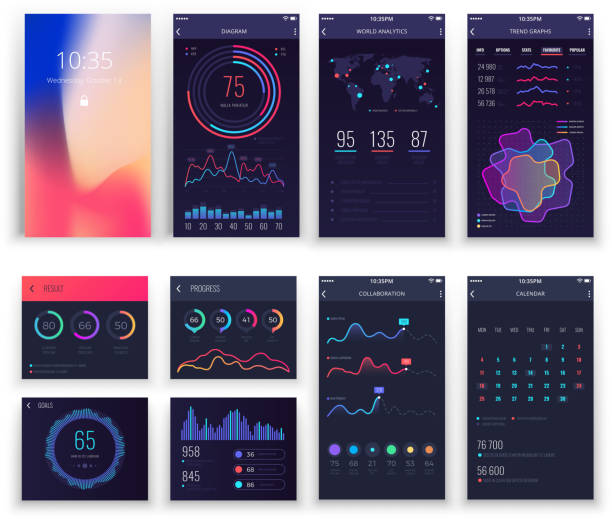 Mobile application UI and Smartphone UX vector templates with charts and diagrams vector art illustration