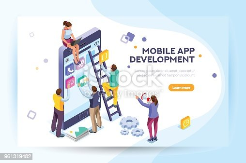 Mobile application, user and developer group. Can use for web banner, infographics, hero images. Flat isometric people, vector illustration isolated on generic white background.
