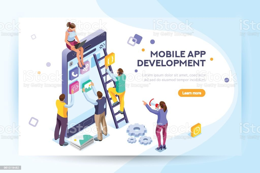 Mobile application user and developers vector art illustration