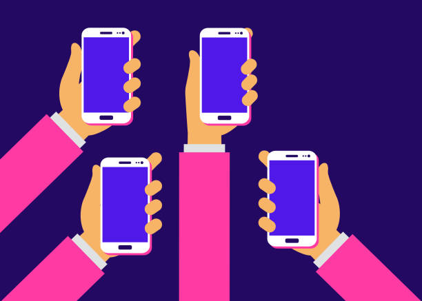 mobile applications concept. hands with phones. flat vector illustration. - hand holding phone stock illustrations