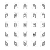 Mobile Applications Icon Thin Line Series Vector EPS File.