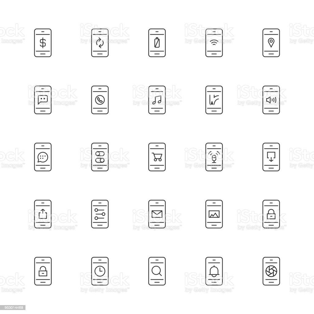 Icono de aplicaciones móviles - serie de línea delgada - ilustración de arte vectorial