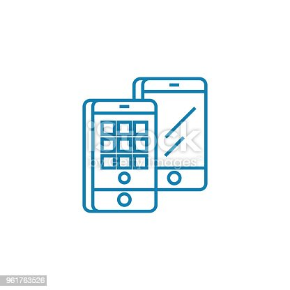 Mobile applications line icon, vector illustration. Mobile applications linear concept sign.