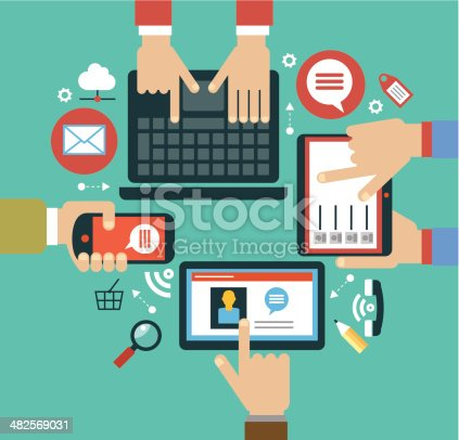 mobile apps concept. Mobile apps concept. Flat design vector illustration. Human hand with mobile phone, tablet, laptop and interface icons