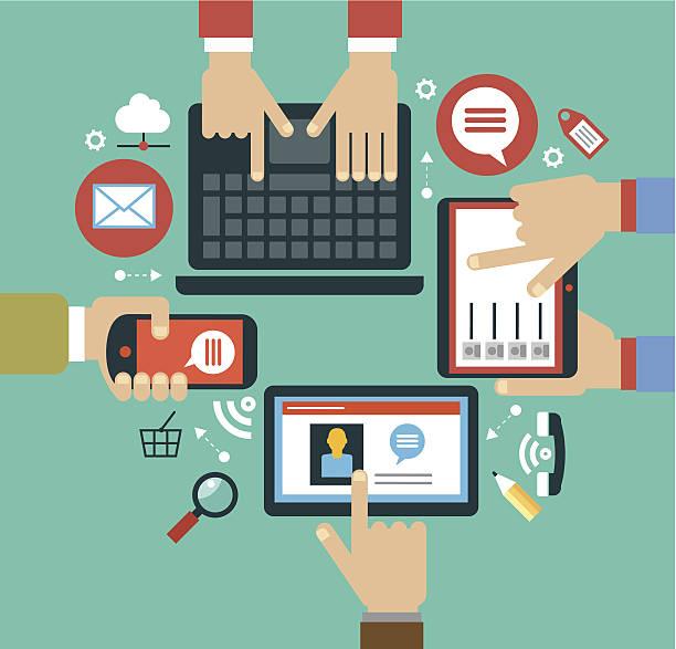 ilustrações, clipart, desenhos animados e ícones de conceito de aplicativos móveis - reunião encontro social