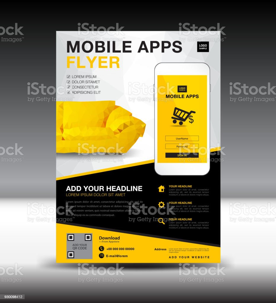 Mobile Apps Flyer Vorlage Businessbroschüreflyerdesignlayout ...