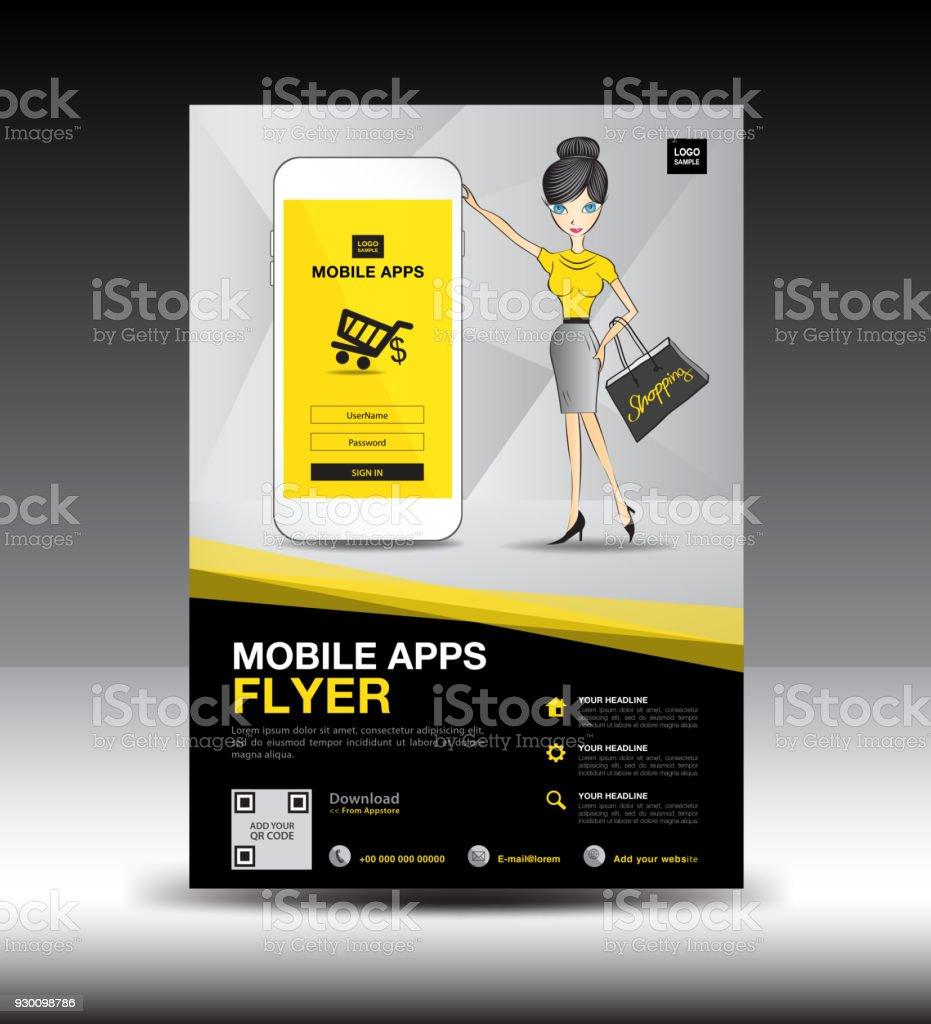 Mobile Apps Flyer Vorlage Businessbroschüreflyerdesignlayout ...