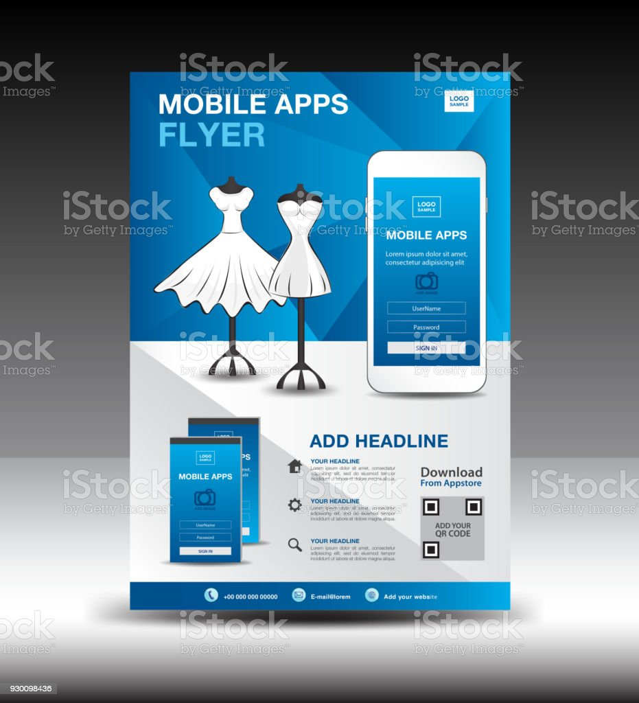 Mobile Apps Flyer Template For Boutique Shop Business Brochure Flyer