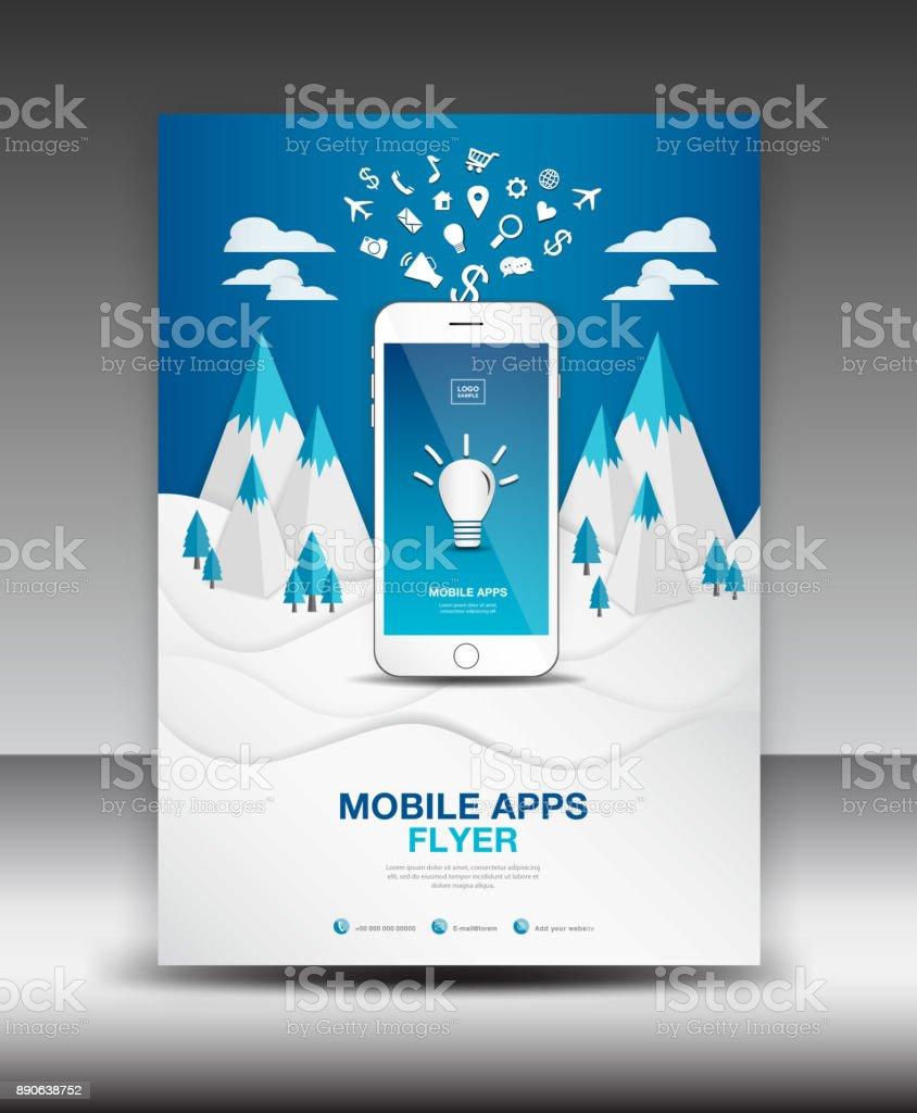 Mobile Apps Flyer Vorlage Winter Landschaft Hintergrund ...