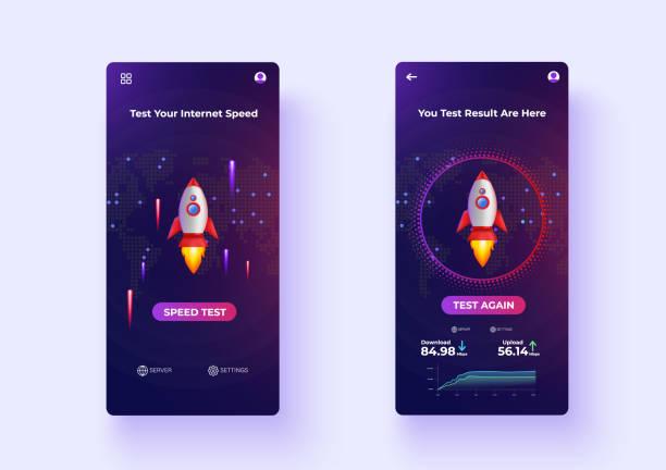 Mobile Apps Internet Speed Test UX/UI Design Vector vector art illustration