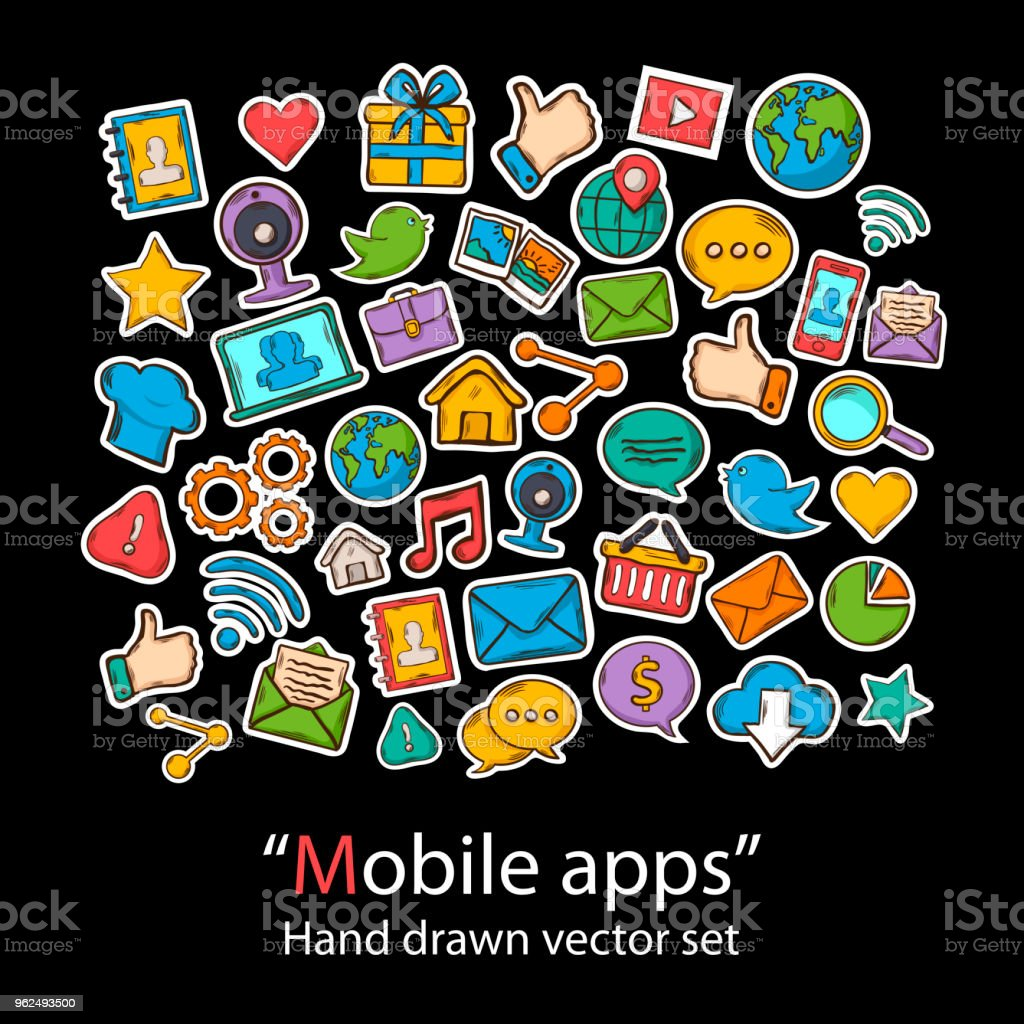 Mobile Apps.Scrapbook.Fashion patch badges collection. - Royalty-free Camera - Photographic Equipment stock vector