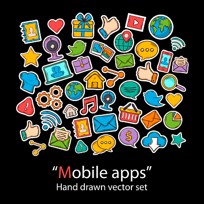 Mobile Appsscrapbookfashion Patch Badges Collection Stock Illustration - Download Image Now