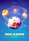 Mobile arcade food planets adventure game, cartoon poster with egg, burger, salmon fish and ice cream spheres in space. Cosmic funny galaxy world, Vector illustration