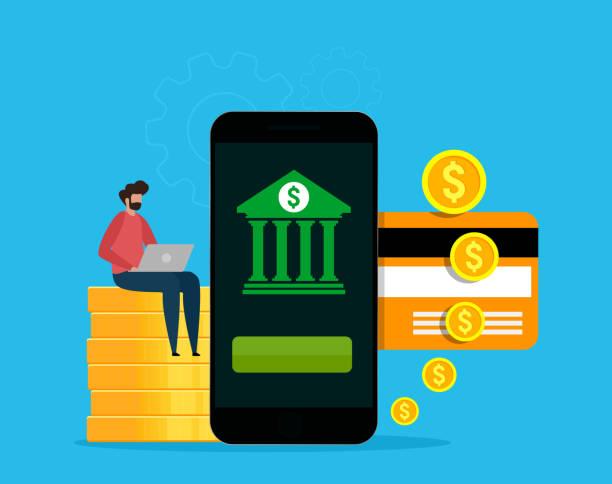 Mobile banking and finance management concept. vector art illustration