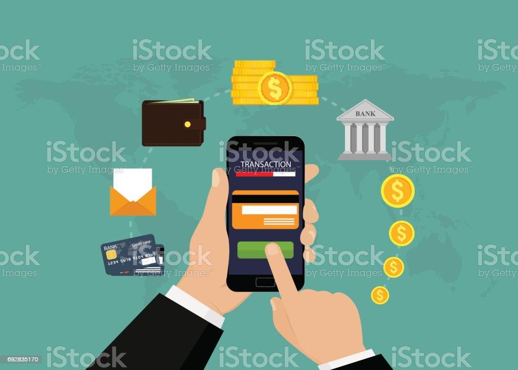 Les services bancaires mobiles et paiement mobile - Illustration vectorielle