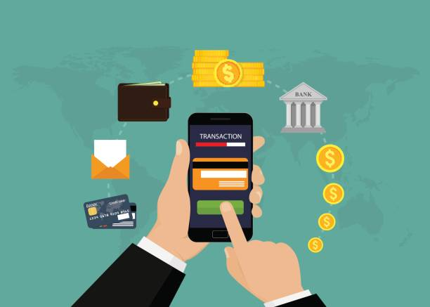 Mobile banking and mobile payment vector art illustration