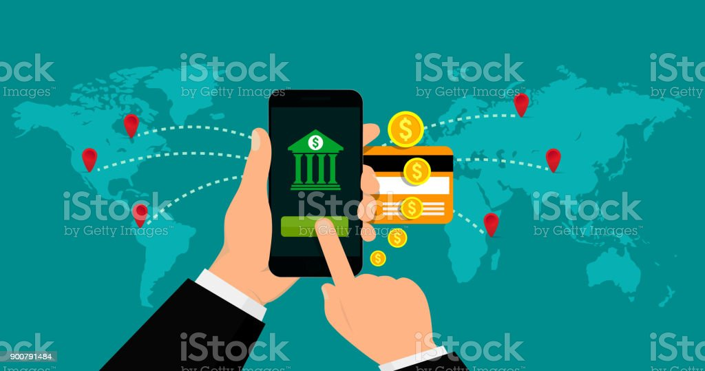Mobile banking and mobile payments concept. Vector illustration. Flat design. vector art illustration
