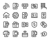 Mobile Banking and Payment Bold Line Icons Vector EPS File.