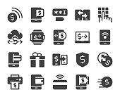 Mobile Banking and Payment Icons Vector EPS File.