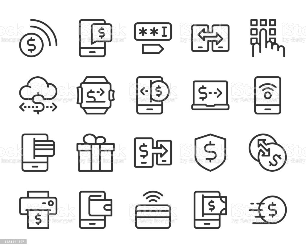 Mobile Banking and Payment - Line Icons vector art illustration