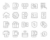 Mobile Banking and Payment Thin Line Icons Vector EPS File.