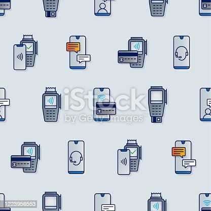 Mobile banking and shopping seamless color pattern and color vector illustration. Mobil phone, smartphone, credit card, debit card, cash register, SMS and customer service icons.