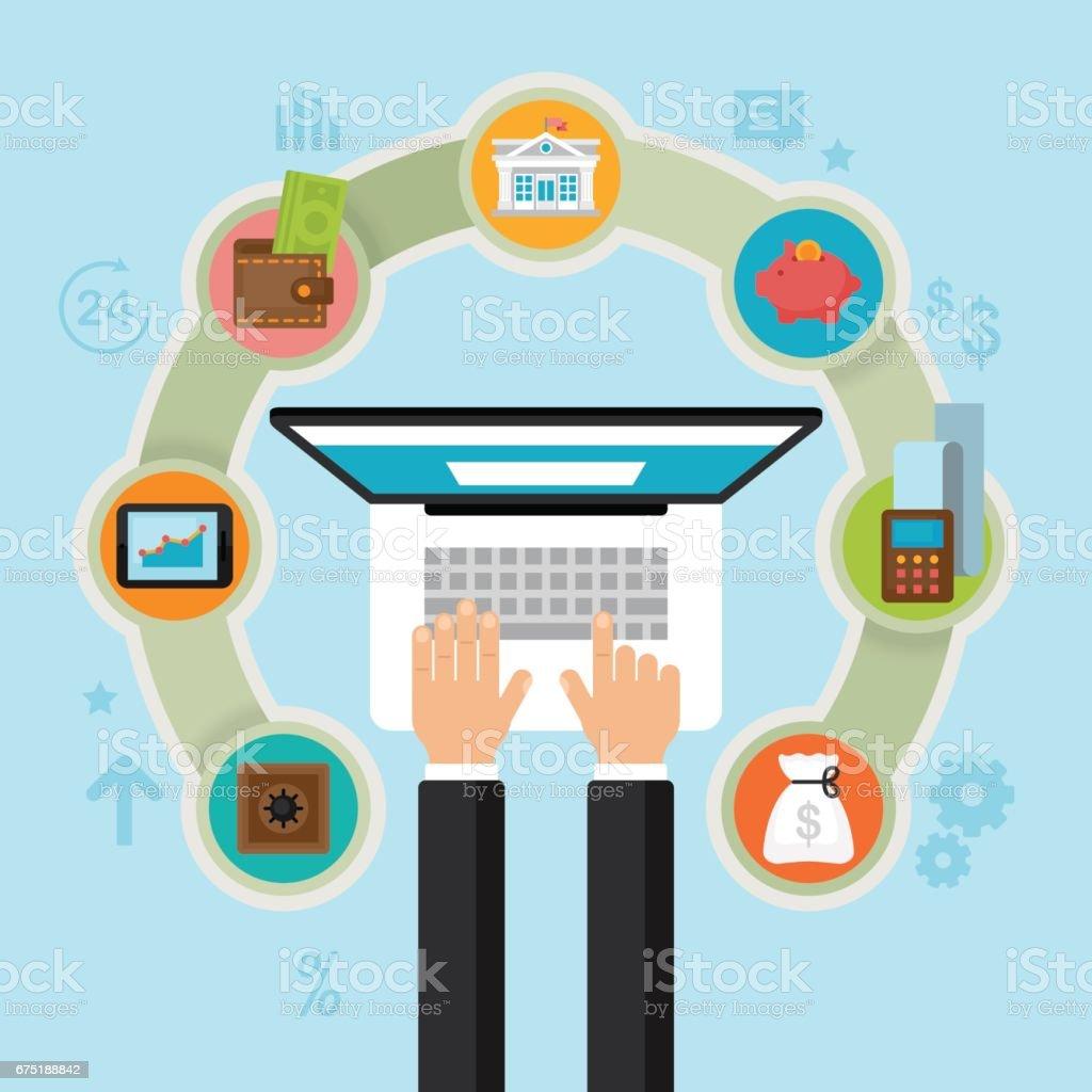 Mobile Banking-Konzept. Operationen, Zahlung, Kreditkarten, Geldbörse und Bargeld Geld Symbole zu finanzieren. Flachen Stil-Vektor-illustration – Vektorgrafik