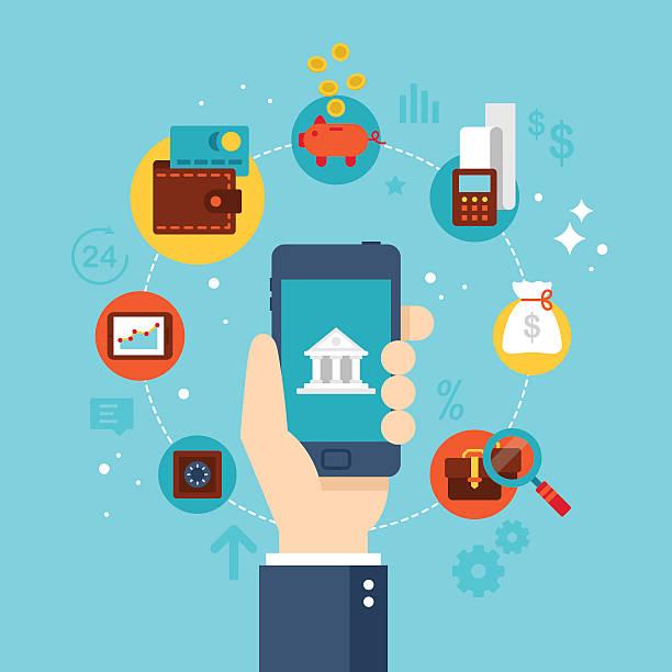 Mobile banking concept. Flat stylish icon design vector art illustration