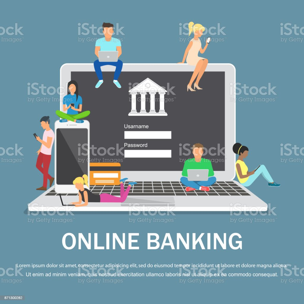 Mobile banking concept illustration of people using laptop and mobile smart phone for online banking vector art illustration
