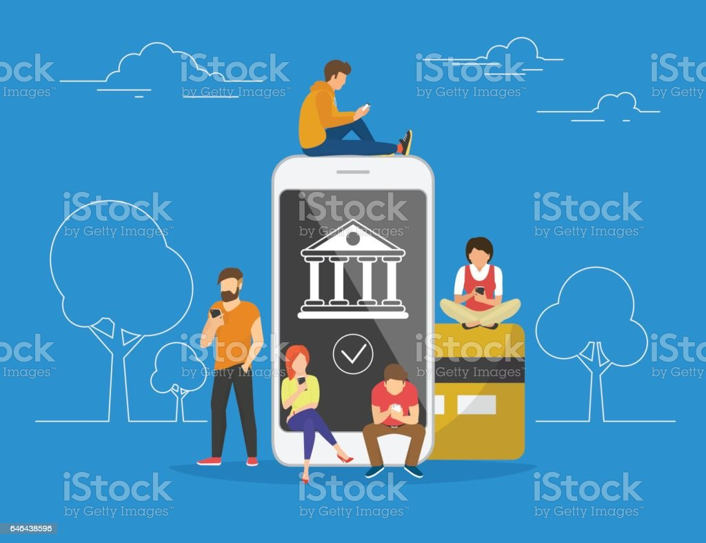 Mobil bankacılık konsept illüstrasyon vektör sanat illüstrasyonu