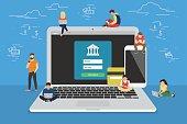 Mobile banking concept illustration