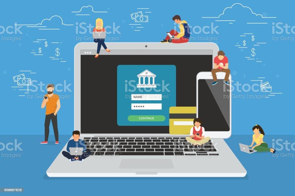 Mobile banking concept illustration vector art illustration