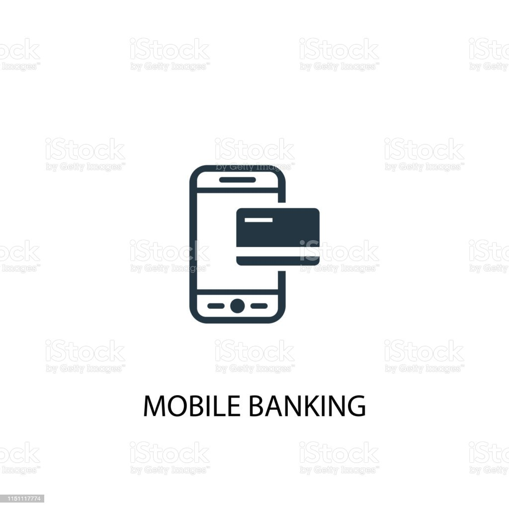 Mobile banking icon. Simple element illustration. Mobile banking...