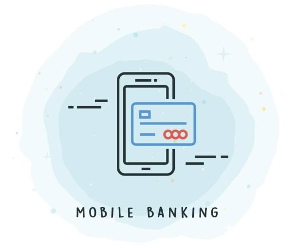 stockillustraties, clipart, cartoons en iconen met mobile banking pictogram met aquarel patch - mobiele betaling