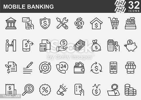 Mobile Banking Line Icons