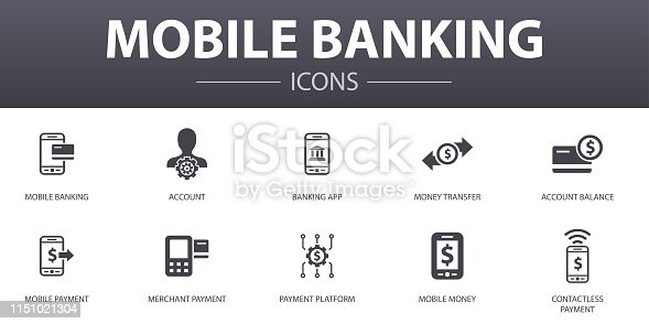 Mobile banking simple concept icons set. Contains such icons as account, banking app, money transfer, Mobile payment and more, can be used for web, logo, UI/UX