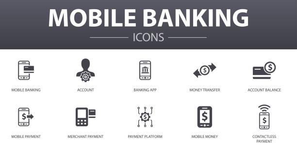 stockillustraties, clipart, cartoons en iconen met mobile banking eenvoudig concept iconen set. bevat dergelijke pictogrammen als rekening, bank app, geldoverdracht, mobiele betaling en meer, kan voor web, embleem, ui/ux worden gebruikt - mobiele betaling