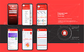 Mobile banking. Template for mobile app in red fashion design.