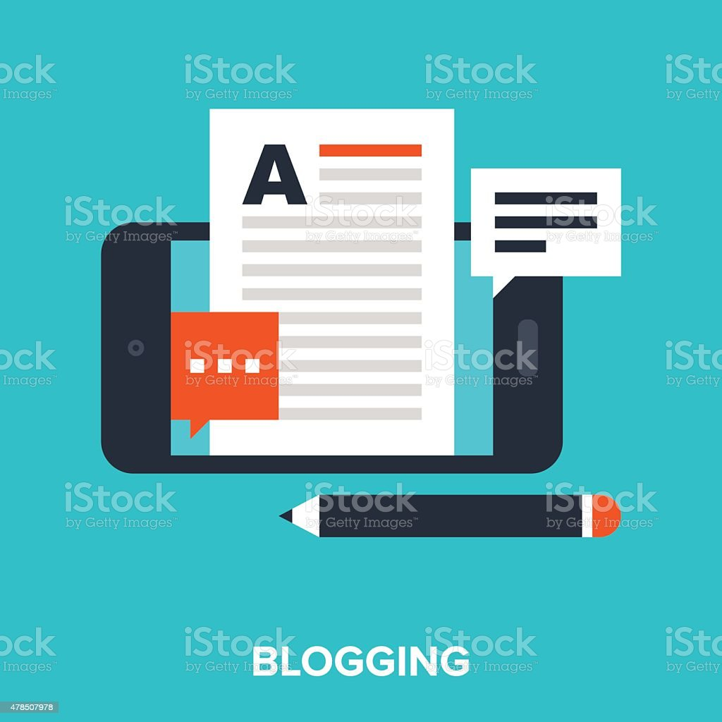 mobile blogging vector art illustration