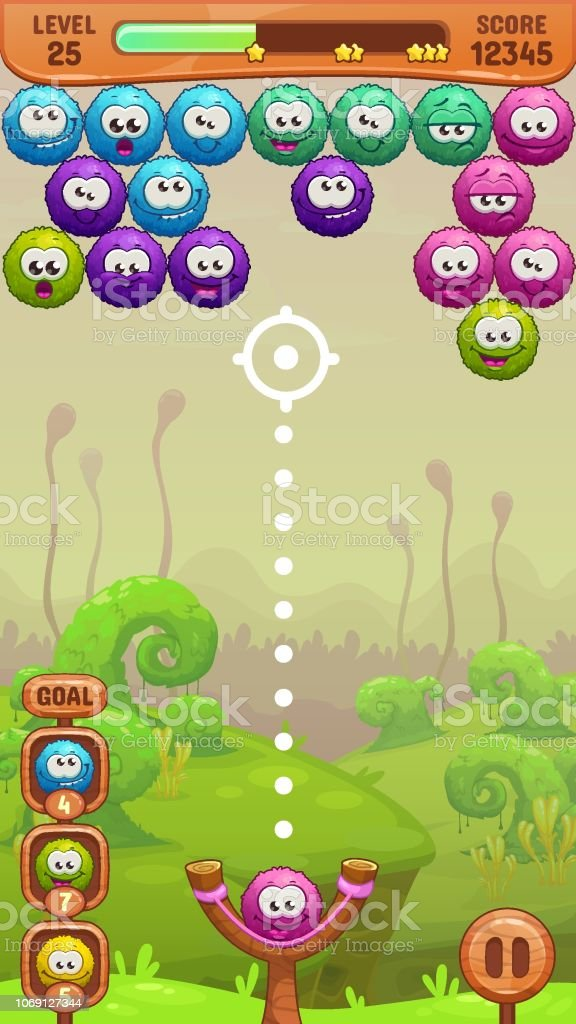 Mobile Bubble Shooter Game Screen Stock Illustration - Download Image Now