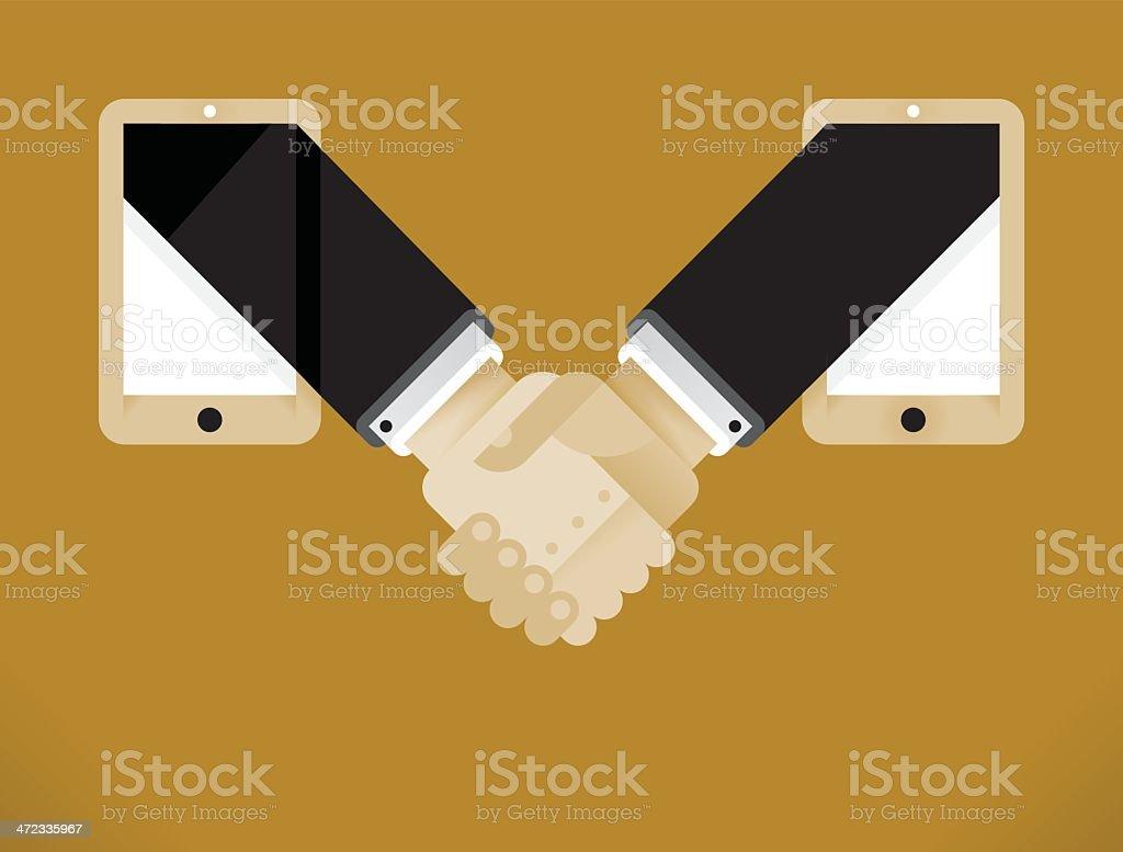 Mobile Business Handshake royalty-free stock vector art