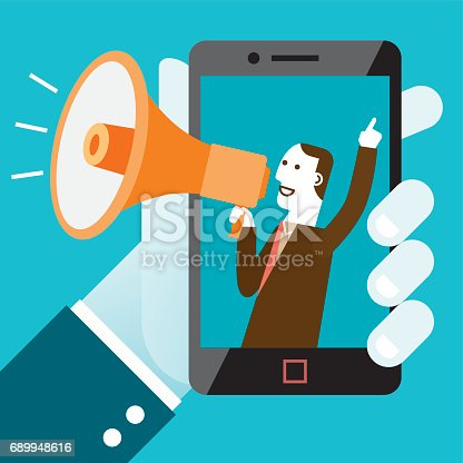 Business concept illustration of mobile shout-out campaign with businessman making announcement with megaphone.