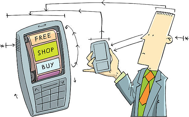 Mobile business vector art illustration