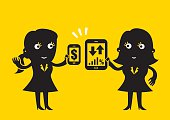 Flat style business cartoon: Female business duo showing off their mobile devices.